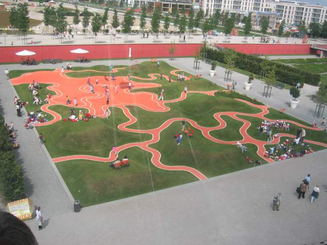 Playground viewed from cable car