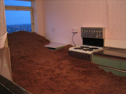 Kitchen filled with sand, 18th Storey of Haddon Tower