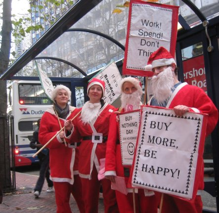 Buy Nothing Day santas queing for the bus..