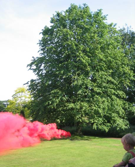 Red Smoke with Wind